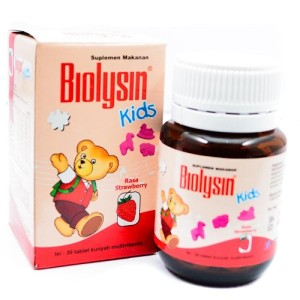 Biolysin Kids Rasa Strawberry Isi 30 Tablet