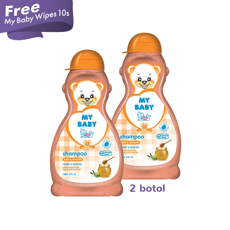 My Baby Shampoo 200ml Soft and Smooth x2 Free My Baby Wipes 10S