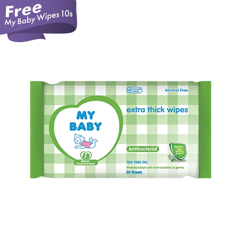 My Baby Wipes Antibakteri 50S Free My Baby Wipes 10S